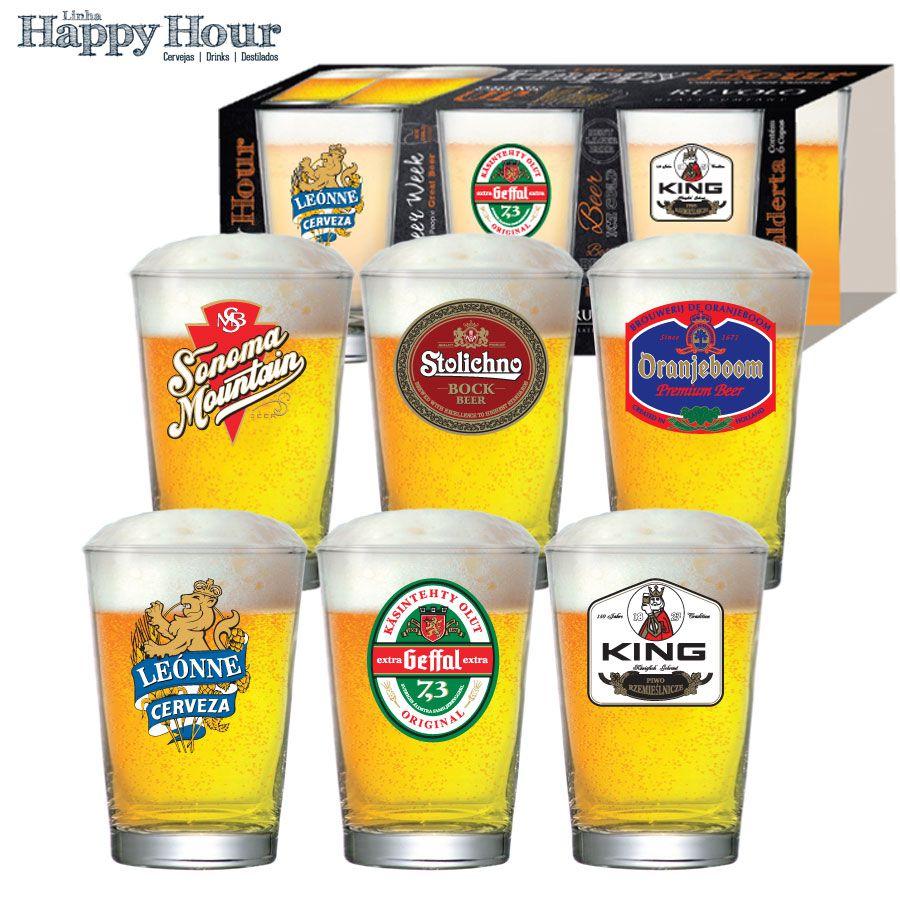 Jogo de Copos de Cerveja HH Caldereta 350 ml Luva 6 Pcs