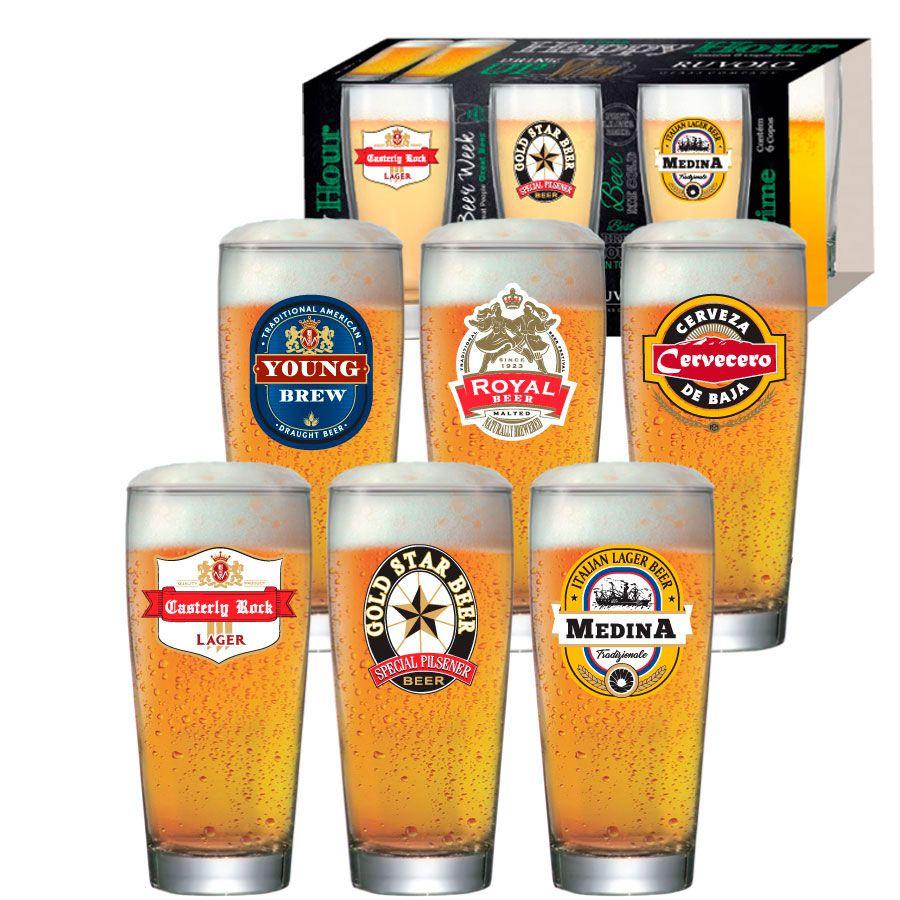 Jogo de Copos de Cerveja HH Prime M 300 ml Luva 6 Pcs