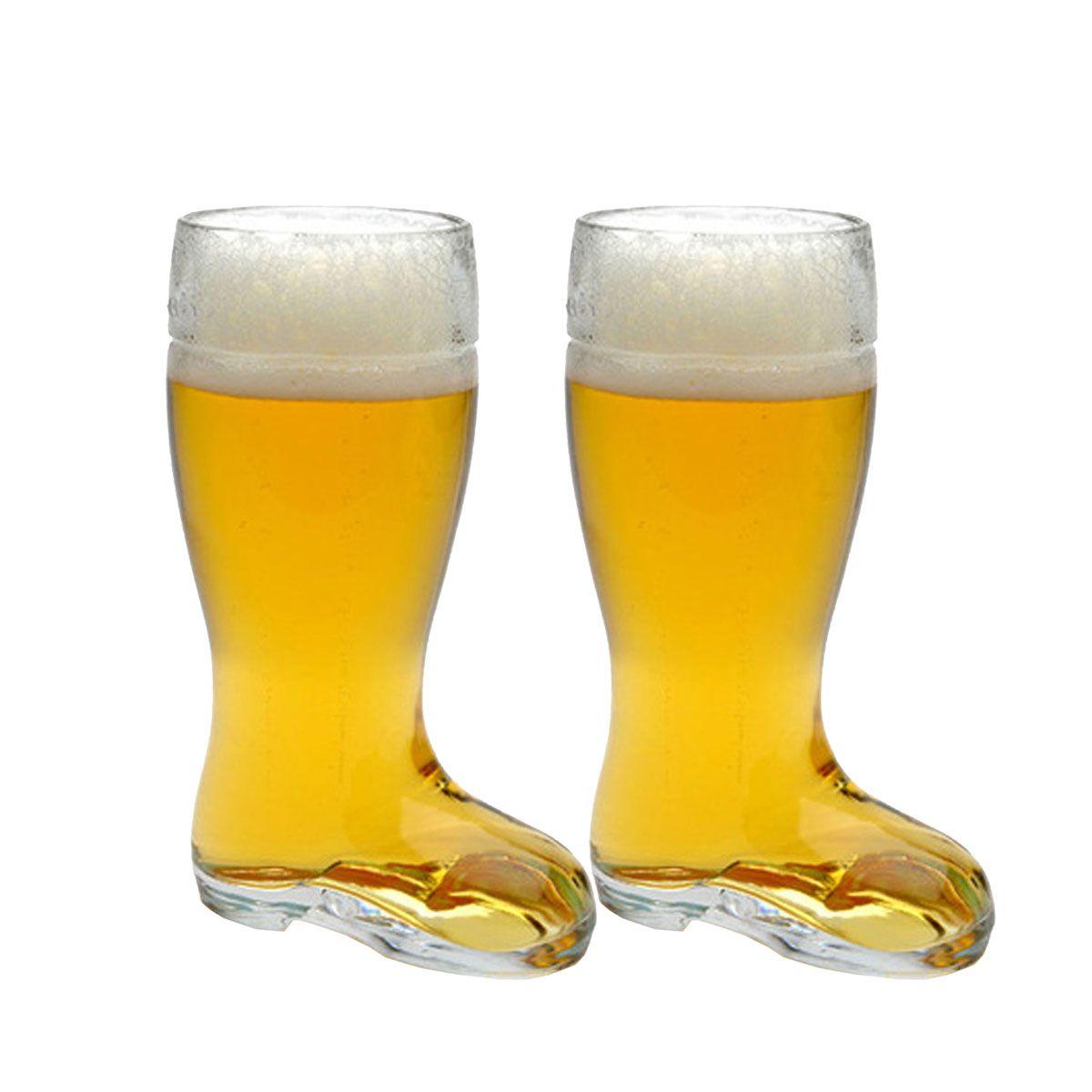 Copo Bota Cerveja Chopp Vidro Formato Stiefel M 620ml kit c/ 02