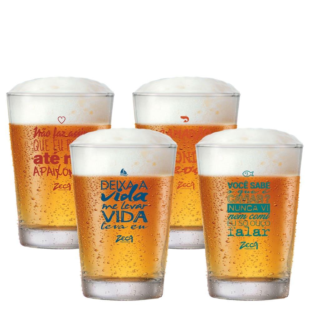 Copo de Cerveja Zeca Pagodinho Caldereta 300ml 4 Pcs