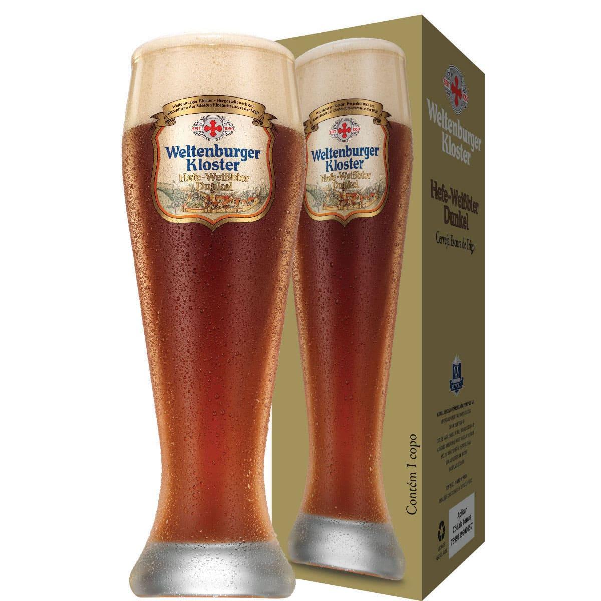 Copo Cerveja Cristal Weltenburguer Hefe Weissbier Dunkel 680ml