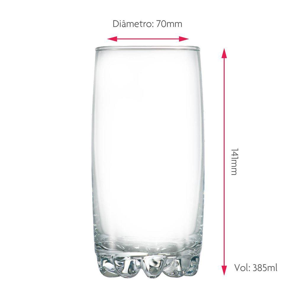 Copo de Água ou Suco Riviera Long Drink Vidro 385ml