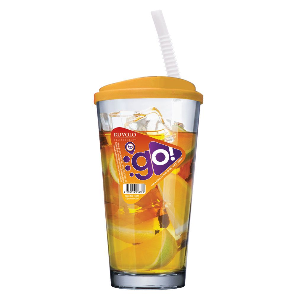 Copo de Água ou Suco To Go Mix Yellow com Tampa e Canudo 415ml