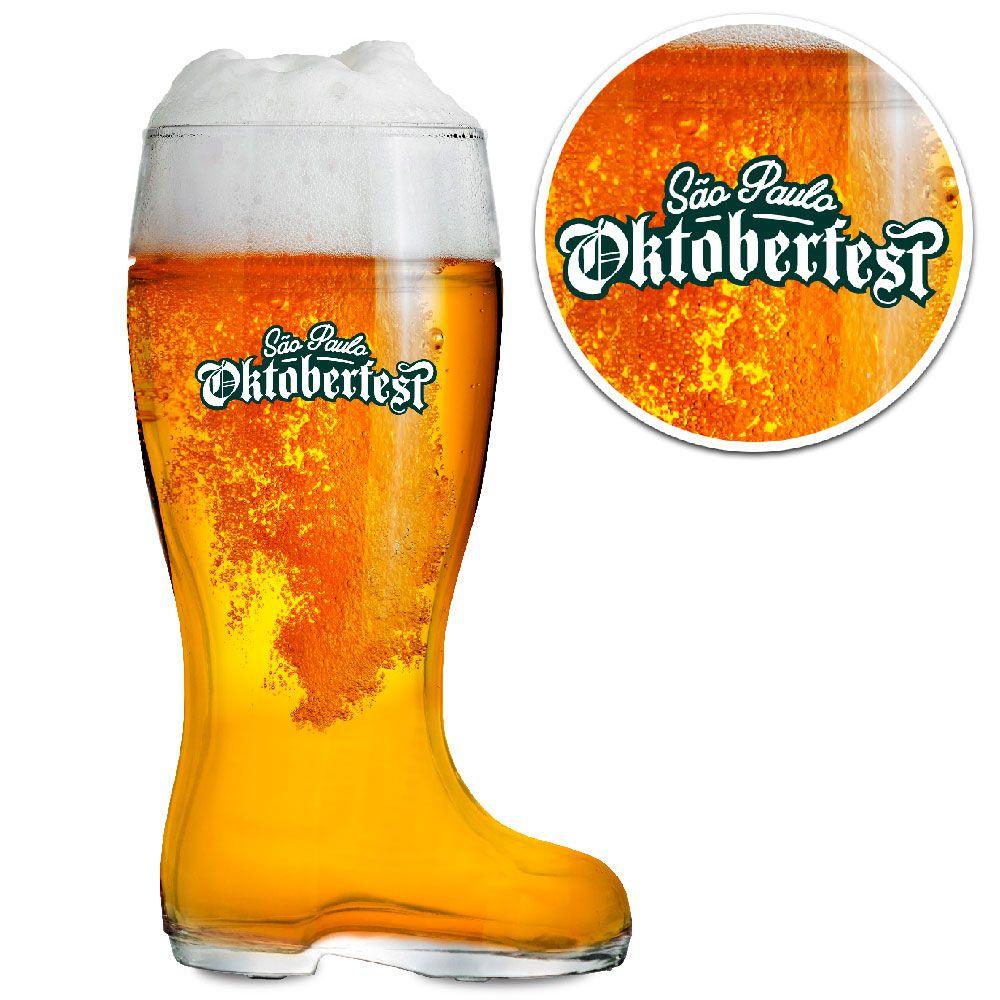 Copo Cerveja de Vidro - Bota Cerveja Stiefel G 1 Litro - Oktoberfest SP