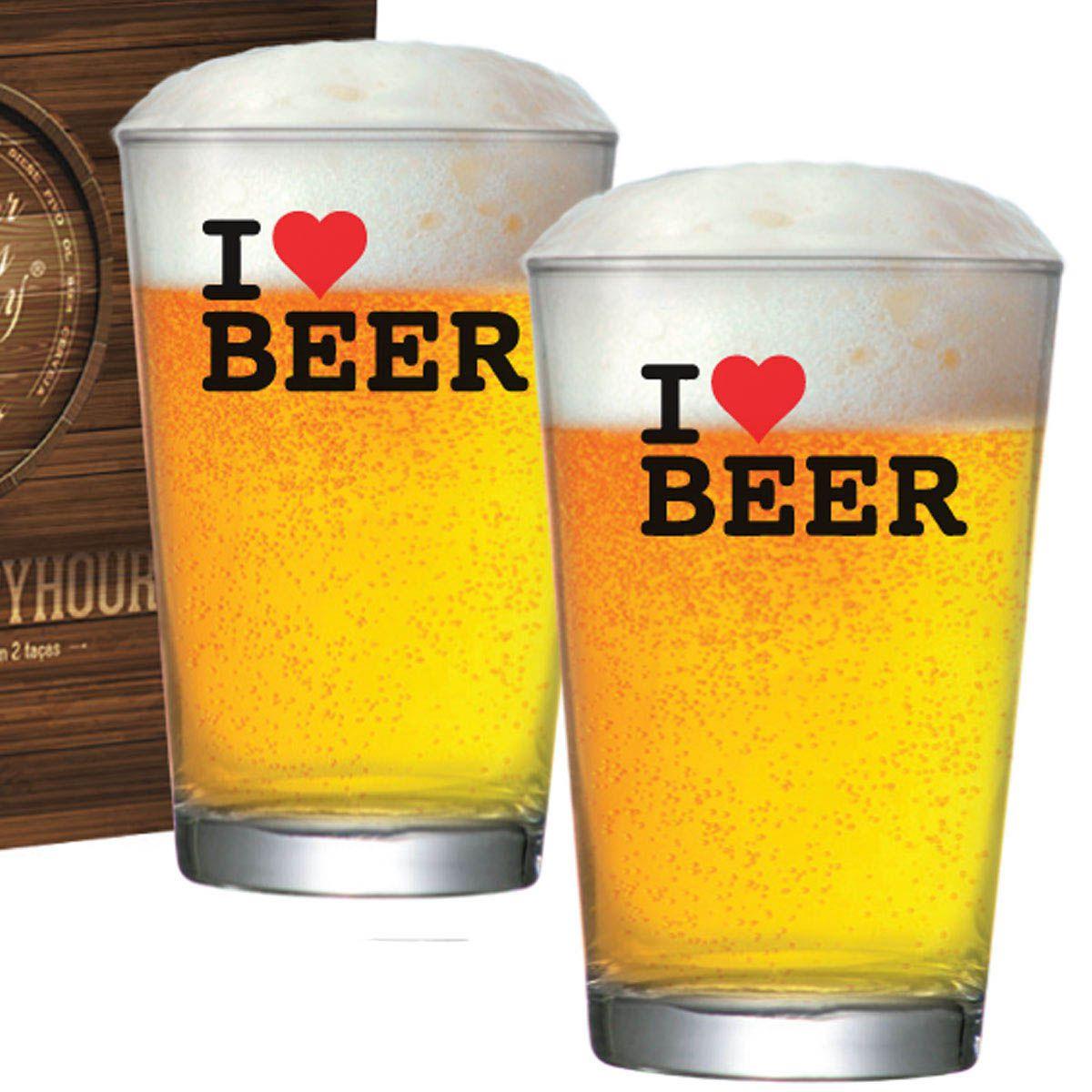 Copo de Cerveja de Vidro Caldereta M 350ml I Love Beer