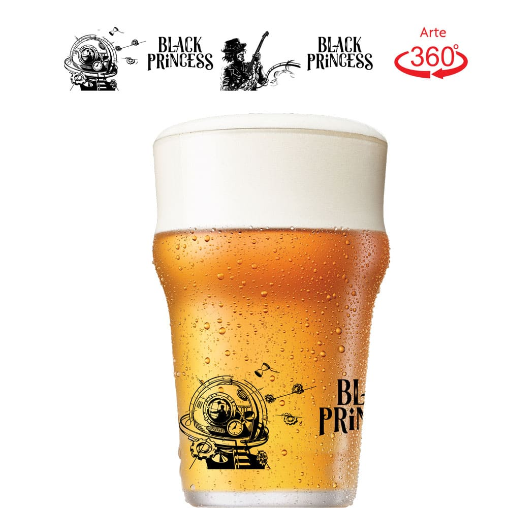 Copo de Cerveja Let's Hop Red Black Princess Cristal 450ml