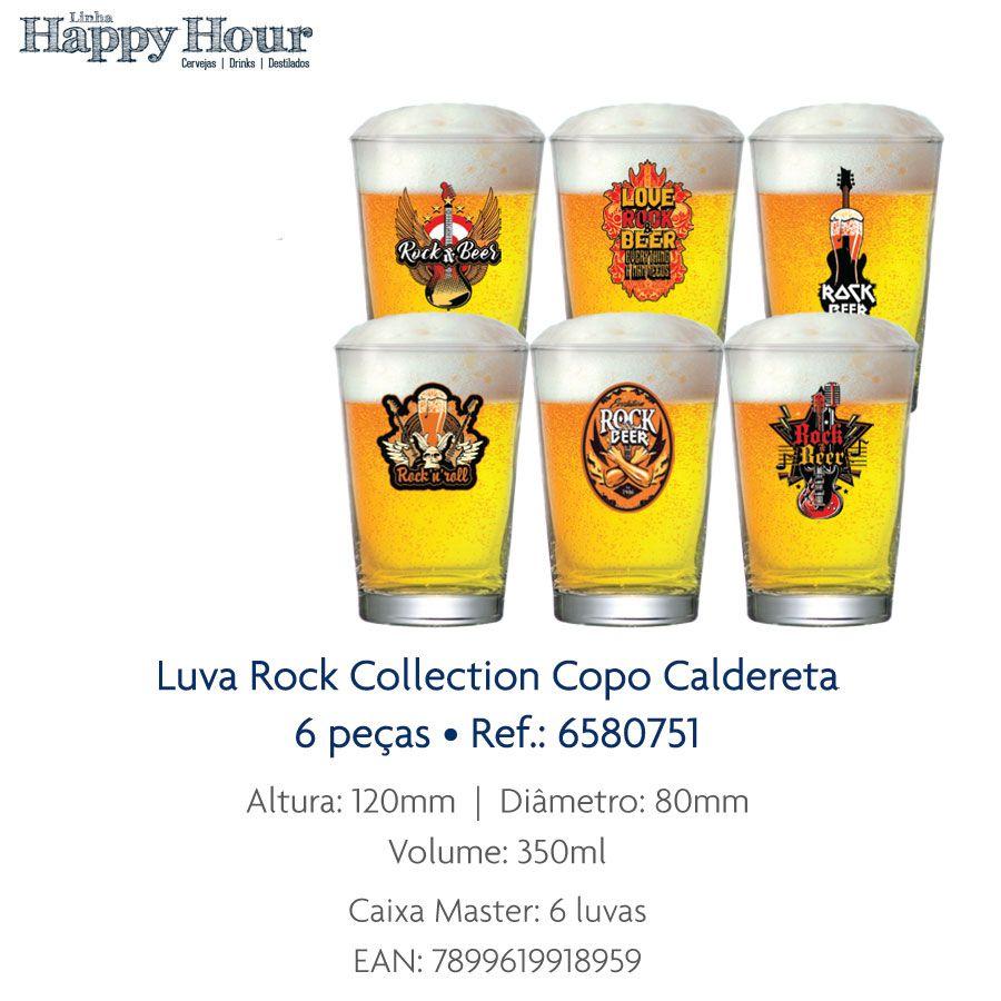 Copo de Cerveja Luva Rock Collection Caldereta 350ml - 6 Peças