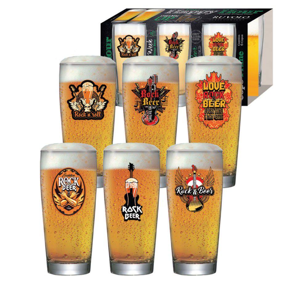 Copo Cerveja Luva Rock Collection Pint 300ml - 6 Peças