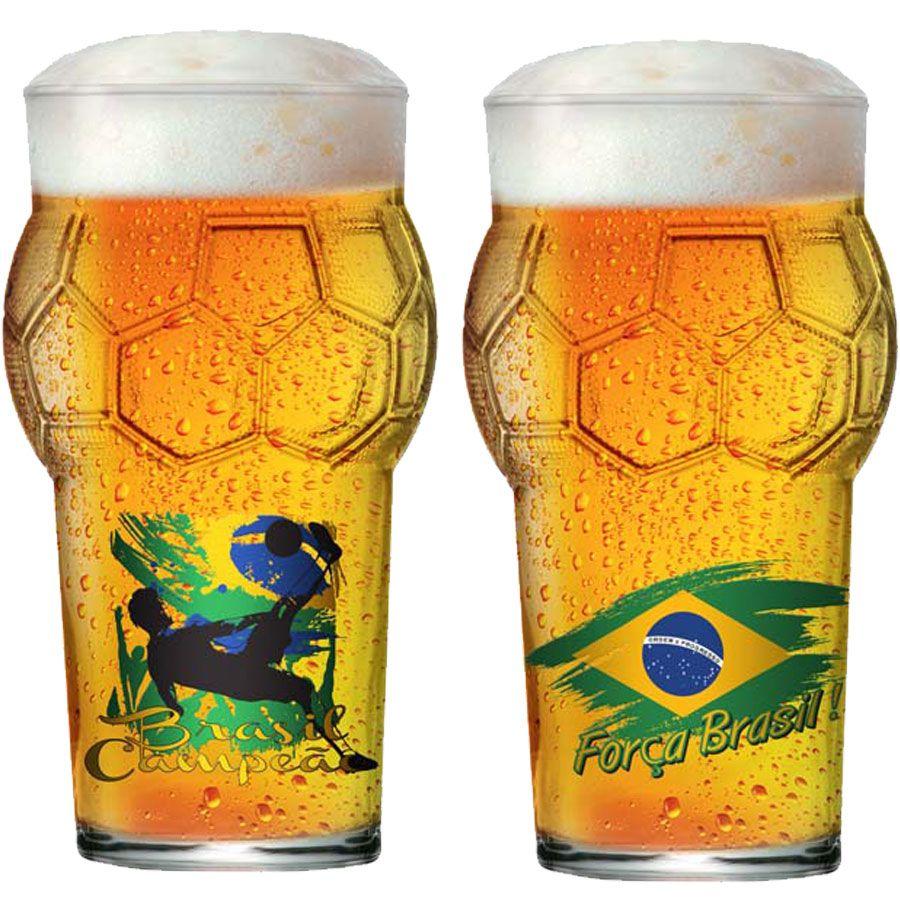 Copo de Cerveja Pint Bola Copa do Mundo Futebol Força Brasil 580ml - 2 Pcs