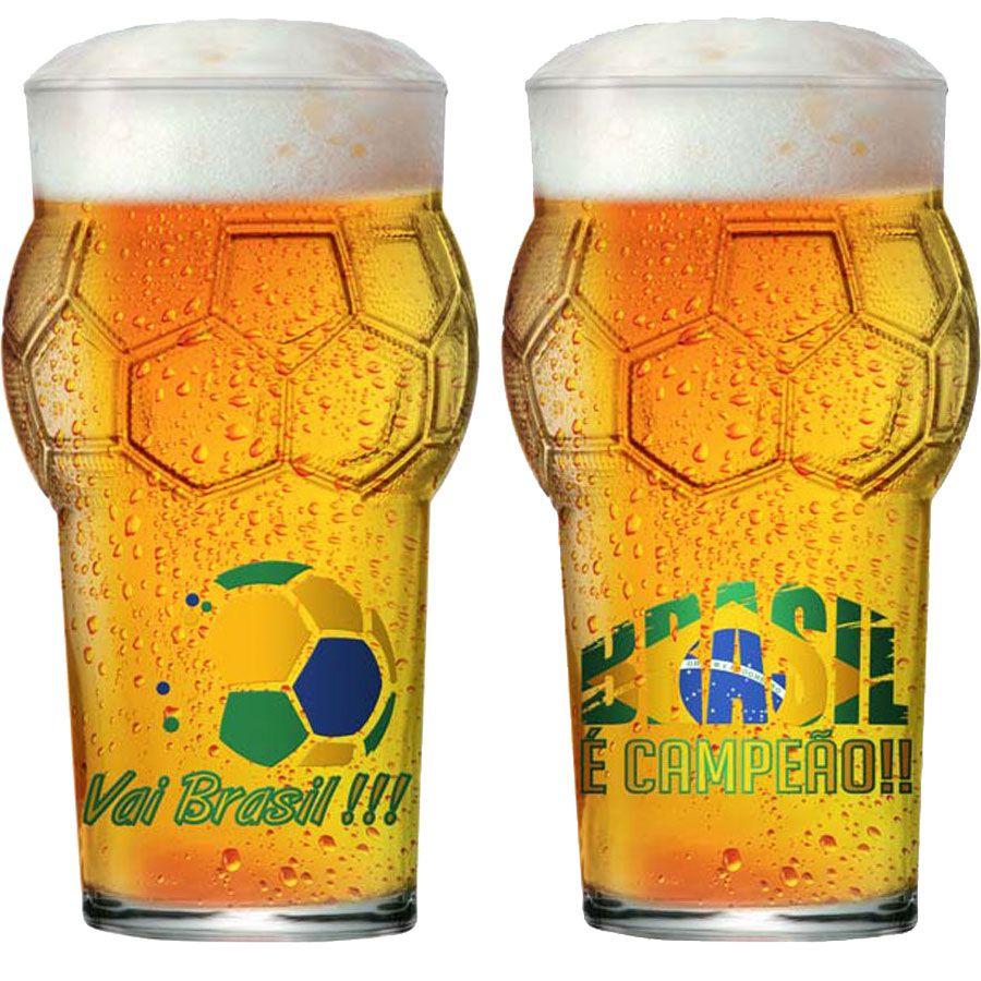 Copo de Cerveja Pint Bola Copa do Mundo Futebol Vai Brasil 580ml  - 2 Pcs