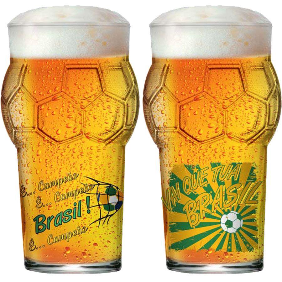 Copo de Cerveja Pint Bola Copa do Mundo Futebol Vai que é tua Brasil 580ml - 2 Pcs