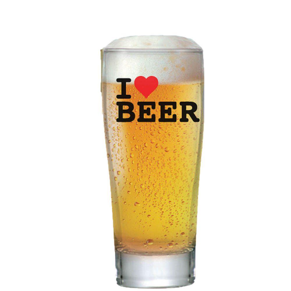 Copo de Cerveja Vidro Weiss Prime 200 ml I Love Beer 6 pcs