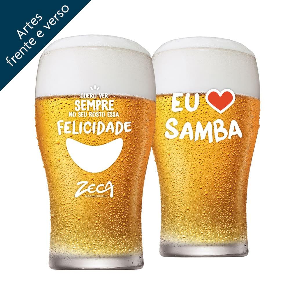Copo de Cerveja Zeca Pagodinho Half Pint Vidro 295ml 4 Pcs