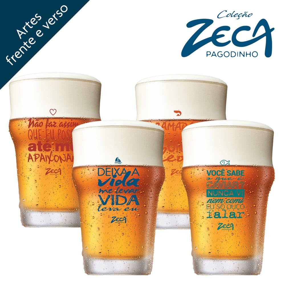 Copo de Cerveja Zeca Pagodinho Nonic Cristal 300ml 4 Pcs