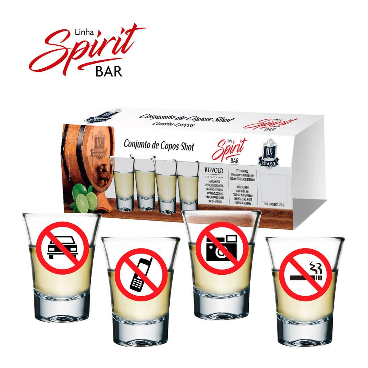Copo de Vidro Shot Tequila Dose Cachaça 60ml 4 Pcs
