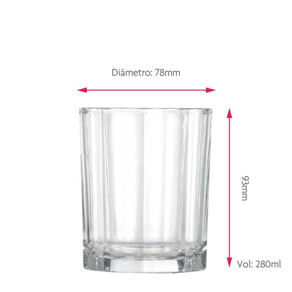 Copo Whiskys Shot Vidro Jogo Conjunto 280ml Kit Rocks 6 Pcs