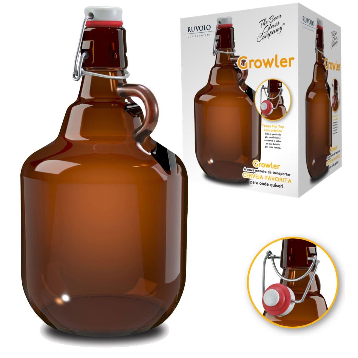 Growler de Vidro para Cerveja 2 Litros