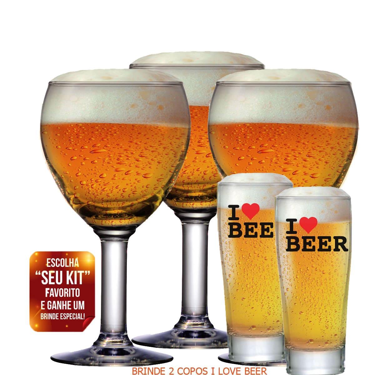 Jogo 3 Taças para Cerveja Abadia 550ml + Copos Brinde