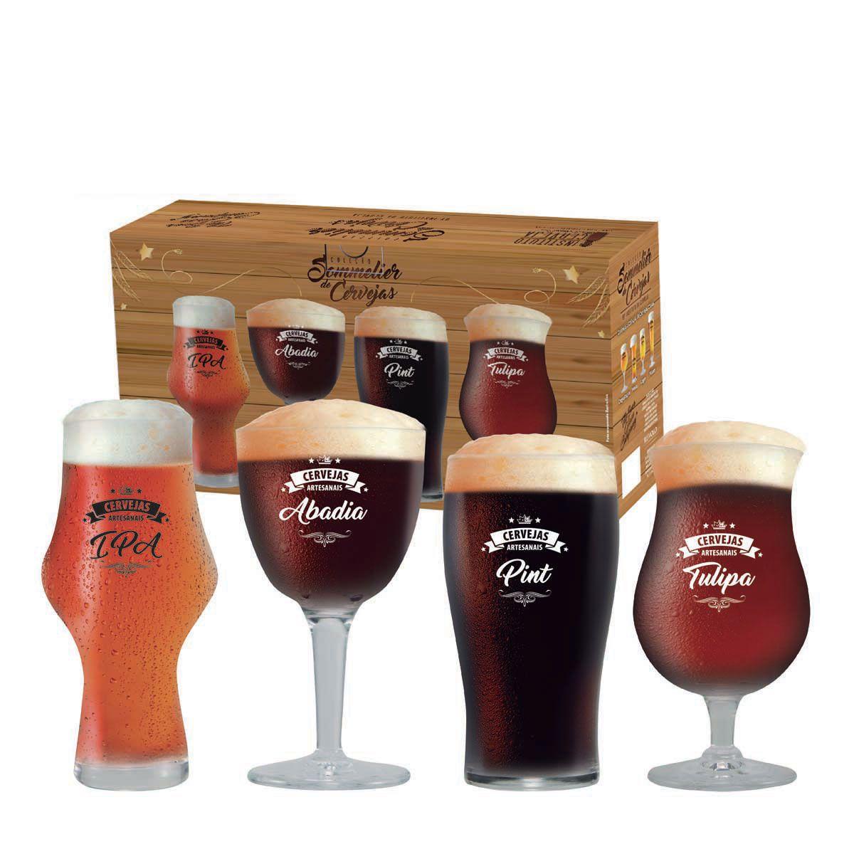 Jogo Copo Cerveja Taça Cerveja Beer Sommelier Escuras c/ 04