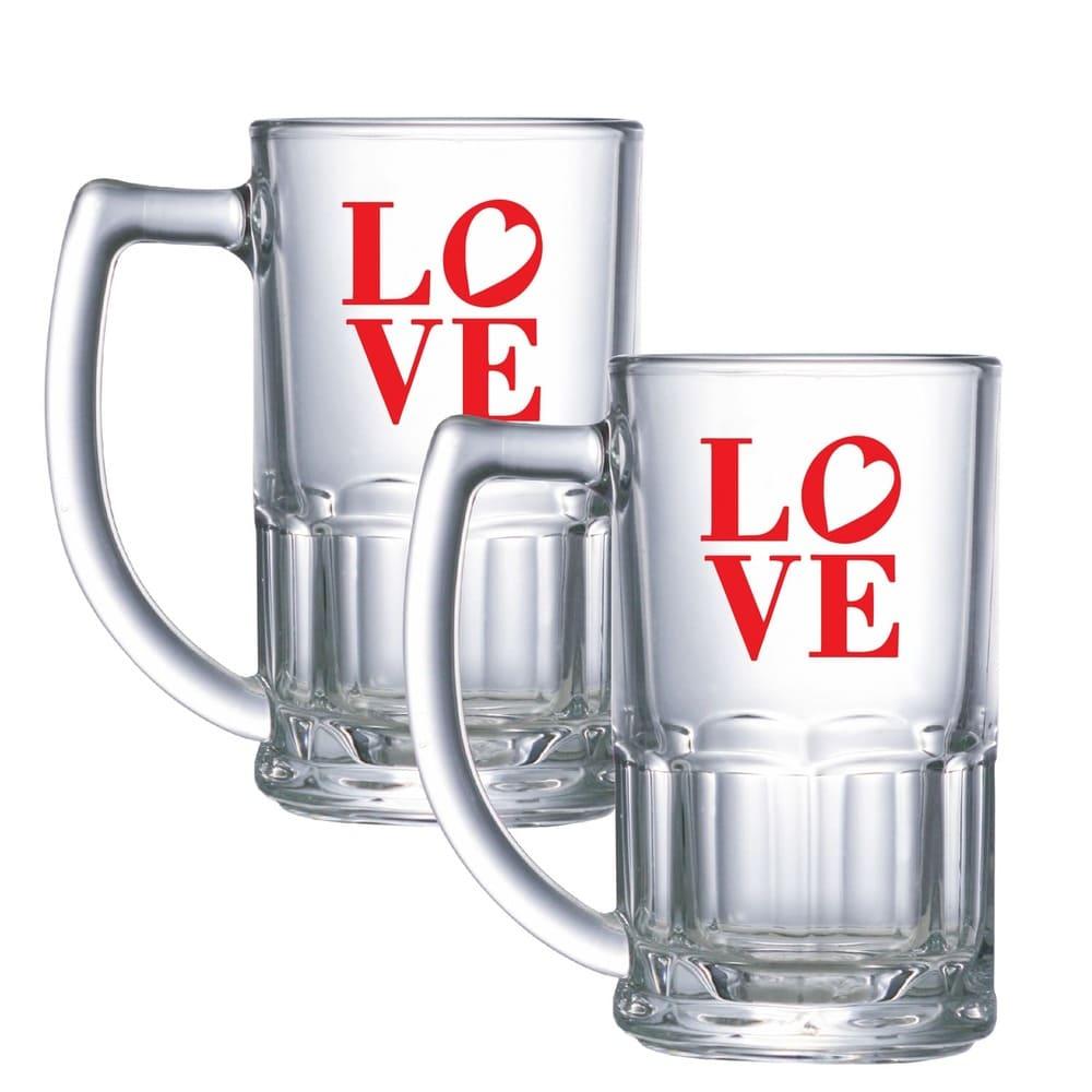 Jogo de Caneca de Chopp Cerveja Vidro Love 2 pcs