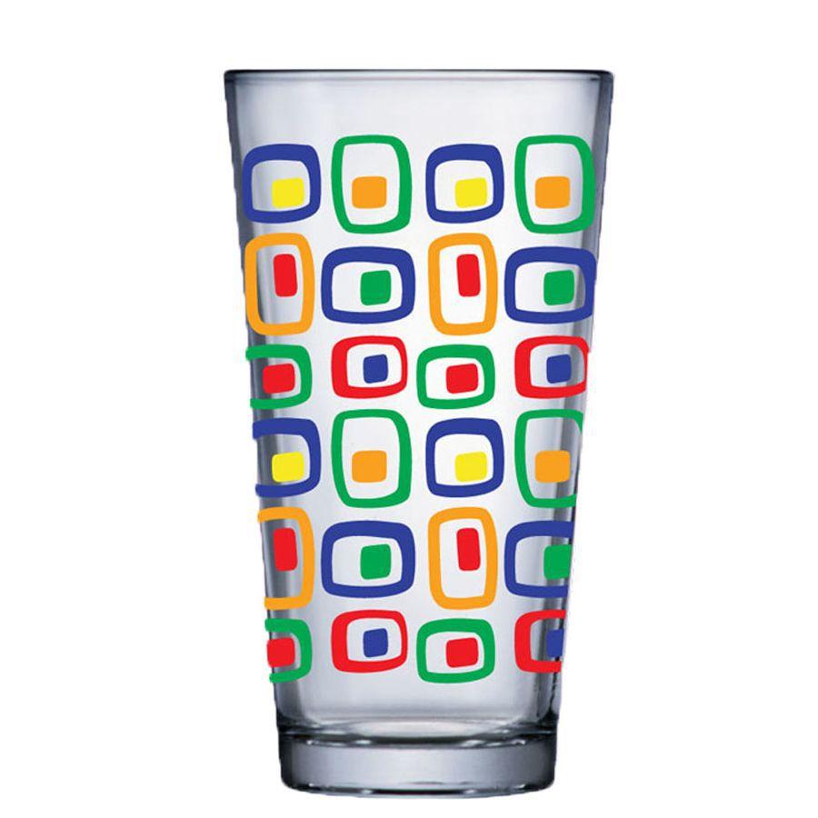 Jogo de Copo de Água de Vidro Conic Mix Cubic 415ml 4 Pcs