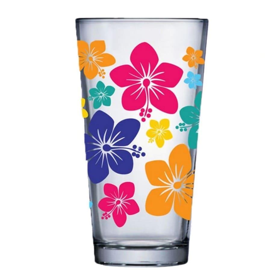 Jogo de Copo de Água de Vidro Conic Mix Flowers 415ml 2 Pcs