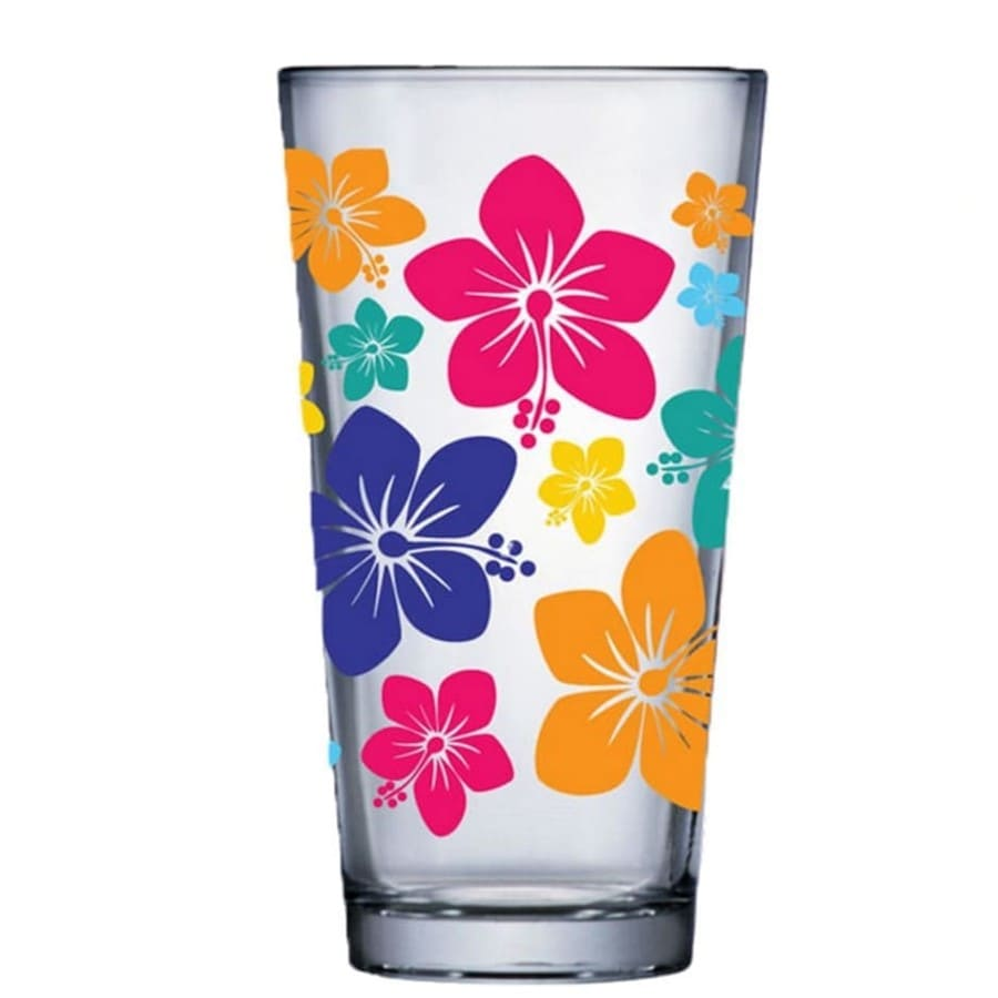 Jogo de Copo de Água de Vidro Conic Mix Flowers 415ml 6 Pcs