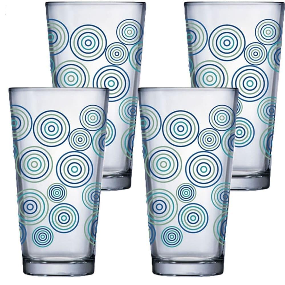 Jogo de Copo de Água de Vidro Conic Mix Rings 415ml 4 Pcs