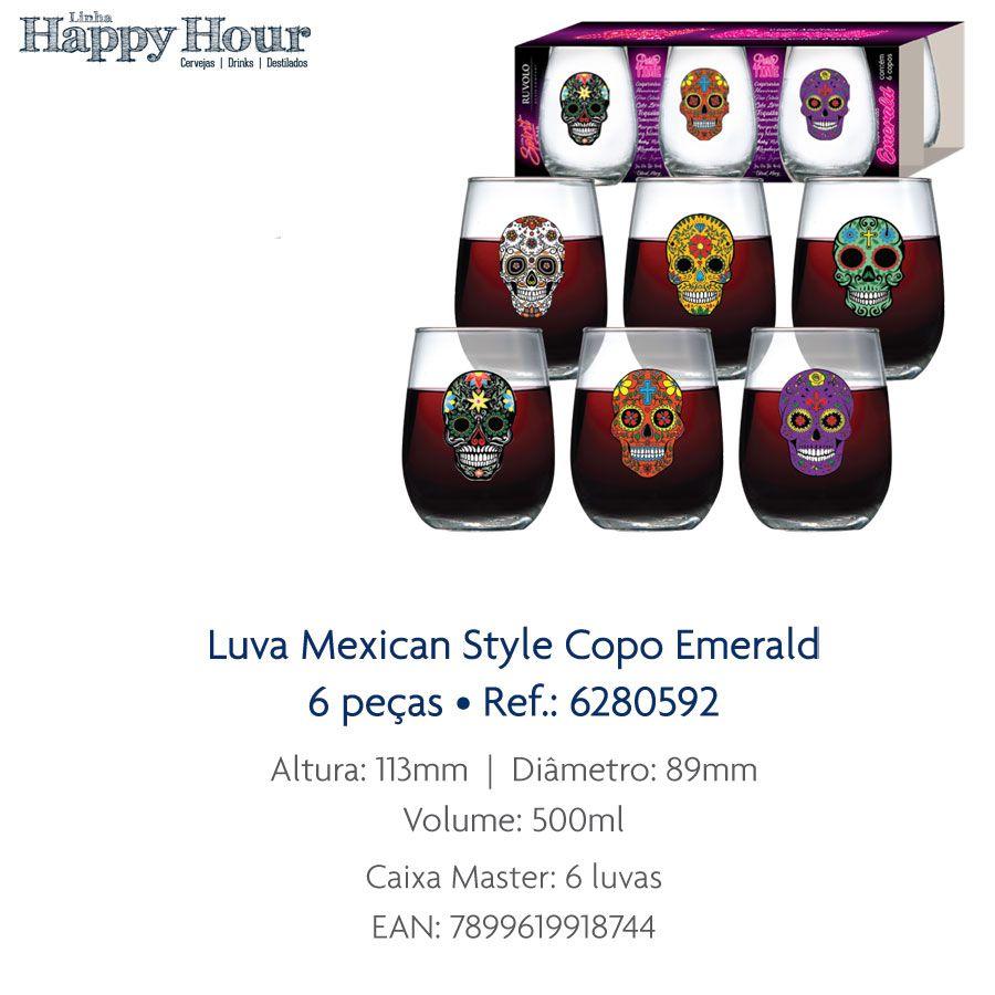 Jogo de Copo de Água Mexican Style Esmerald 500ml 6 Pcs