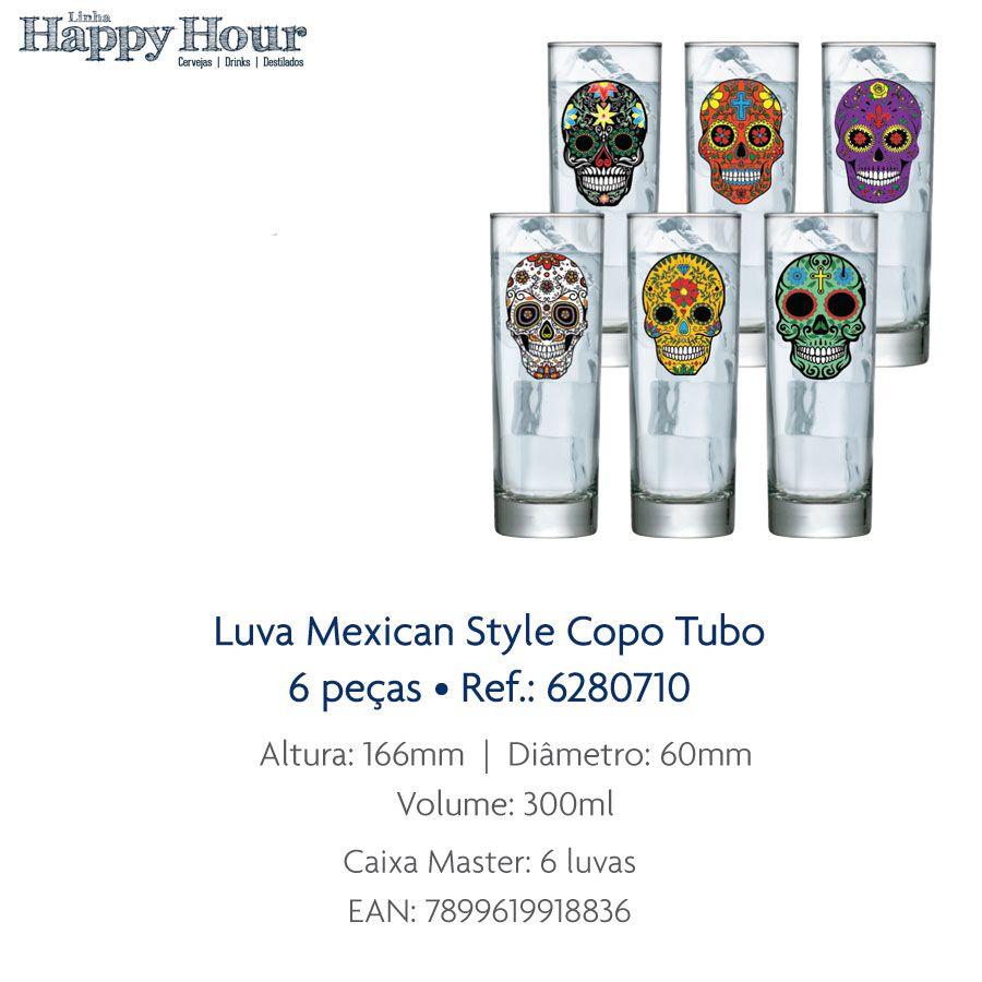 Jogo de Copo de Água Mexican Style Tubo 300ml 6 Pcs