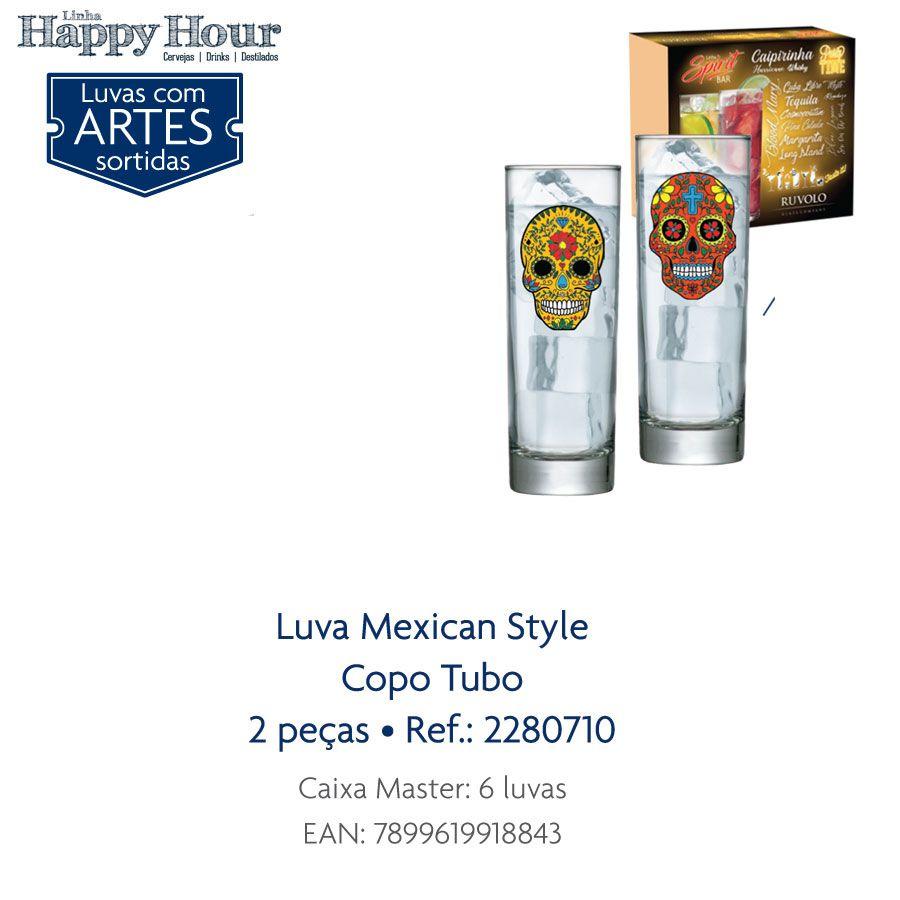 Jogo de Copo de Água Mexican Style Tubo 300ml 02 pçs