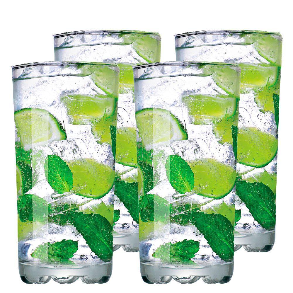 Jogo de Copo de Água Vidro Miragem Long Drink 300ml 4 Pcs