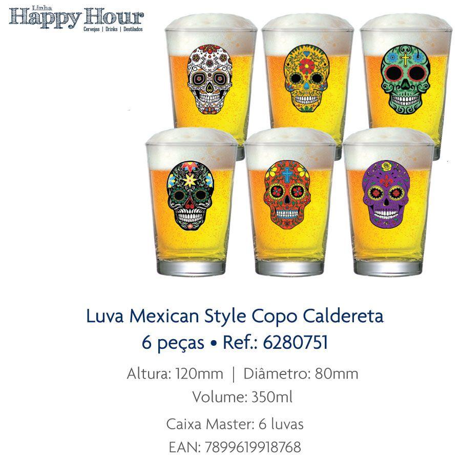Jogo Copo de Cerveja Mexican Style Caldereta 350 ml 6 Pcs