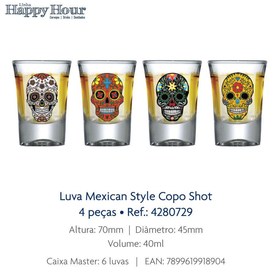 Jogo de Copo de Shot Mexican Style Caveira - 4 Peças