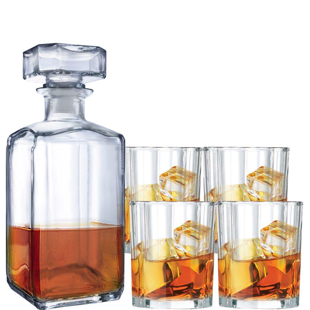 Jogo de Copos 5 pcs + Garrafa de Whisky Decanter 365ml