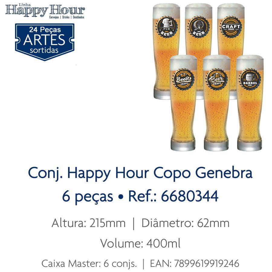 Jogo de Copos de Cerveja HH Genebra 400 ml 6 Pcs