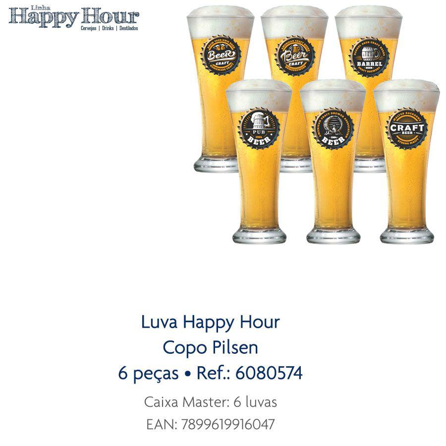 Jogo de Copos de Cerveja HH Genebra 400 ml Luva 6 Pcs