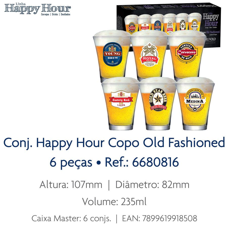 Jogo de Copos de Cerveja HH Old Fashioned 220 ml 6 Pcs