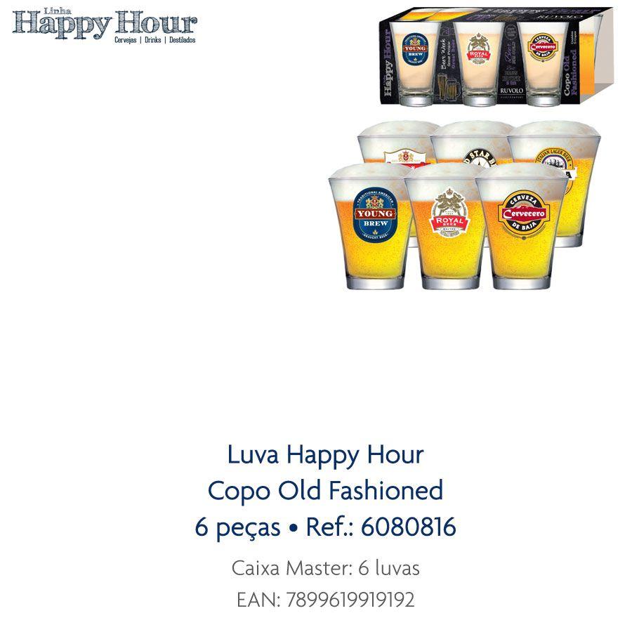 Jogo de Copos de Cerveja HH Old Fashioned 220ml Luva 6 Pcs