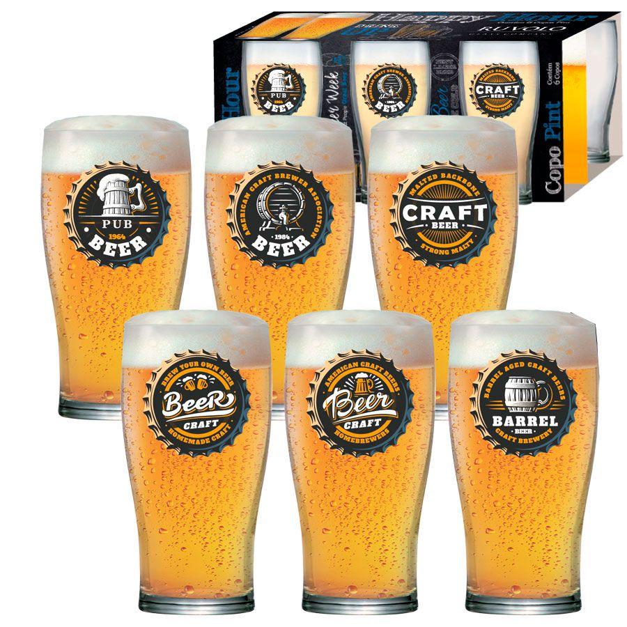 Jogo de Copos de Cerveja HH Pint 568 ml Luva 6 Pcs