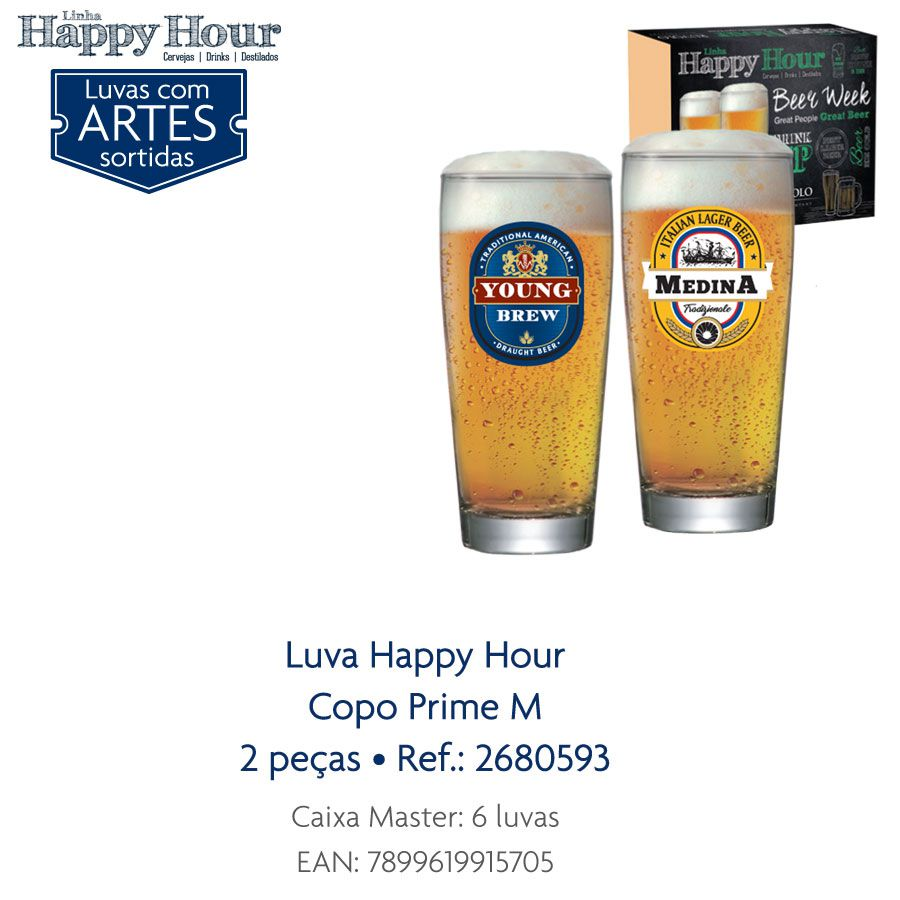 Jogo de Copos de Cerveja HH Prime M  300 ml 2 Pcs