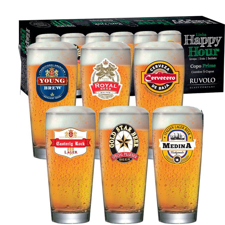 Jogo de Copos de Cerveja HH Prime M 300 ml 6 Pcs