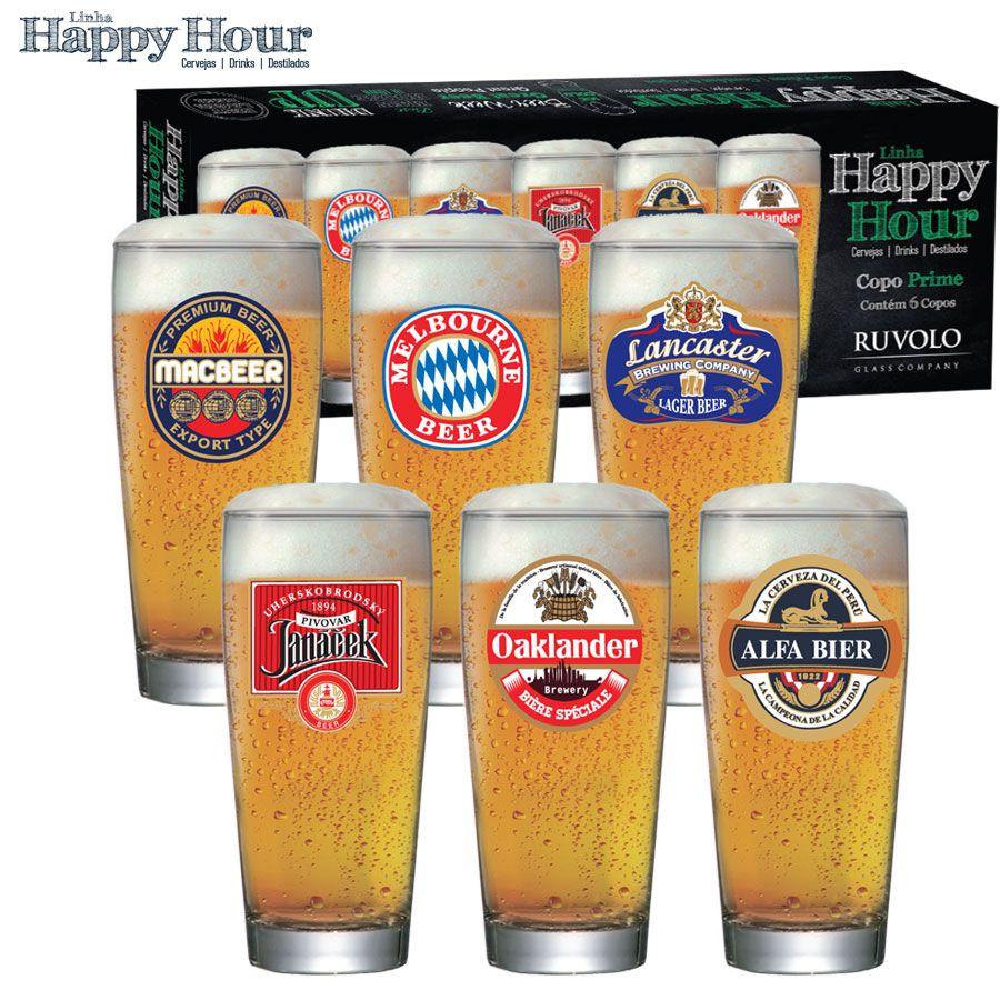 Jogo de Copos de Cerveja HH Prime P 200 ml 6 Pcs