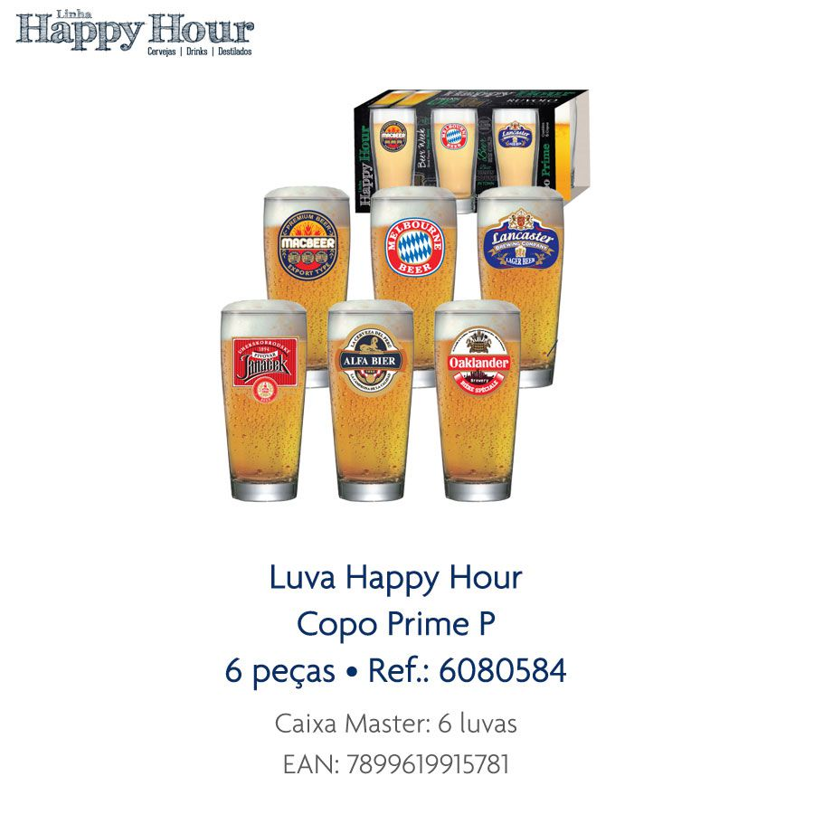 Jogo de Copos de Cerveja HH Prime P 200 ml Luva 6 Pcs