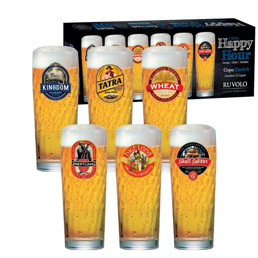 Jogo de Copos de Cerveja HH Zurich M 320 ml 6 Pcs + Brinde