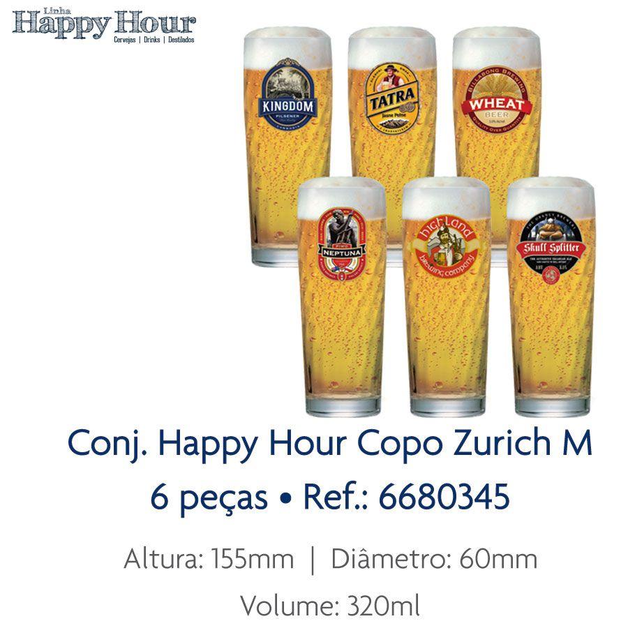 Jogo de Copos de Cerveja HH Zurich M 320 ml 6 Pcs