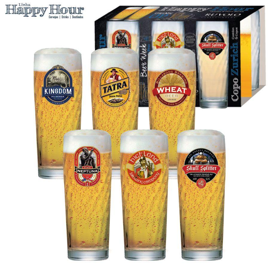 Jogo de Copos de Cerveja HH Zurich M 320 ml Luva 6 Pcs
