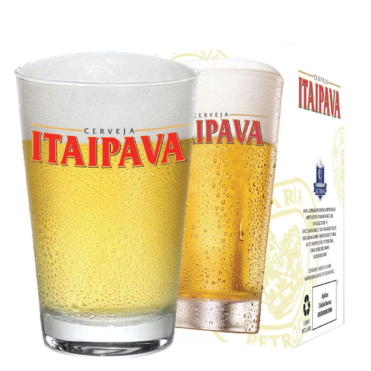 Jogo de Copos de Cerveja Itaipava Caixa 300ml 12 Pcs