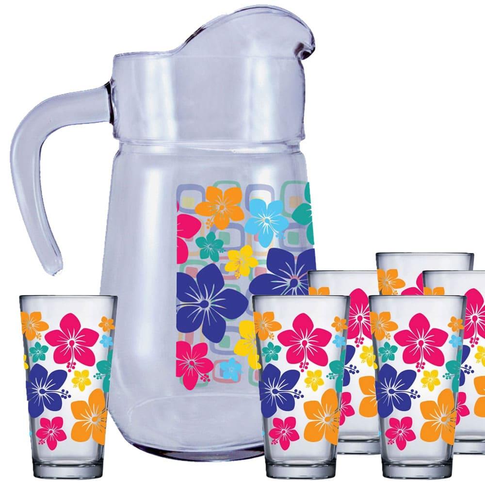 Jogo de Copos de Suco e Água Conjunto Mix Flowers 7 Pcs 1.5 Litros
