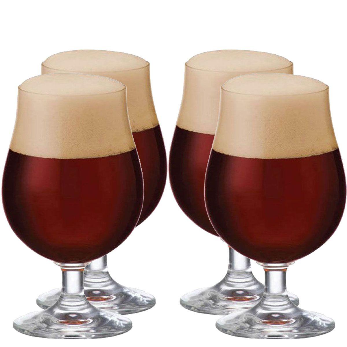 Jogo de Taça de Cerveja Bock Cristal 380ml 4 Pcs